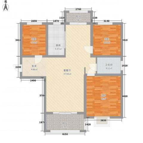 诚德盛世原著3室1厅1卫1厨126.00㎡户型图