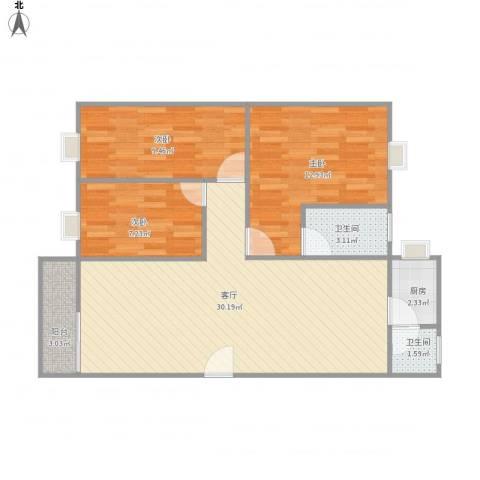 龙湖小区3室1厅2卫1厨95.00㎡户型图