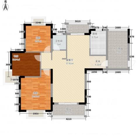 新华阳光国际3室1厅1卫1厨145.00㎡户型图