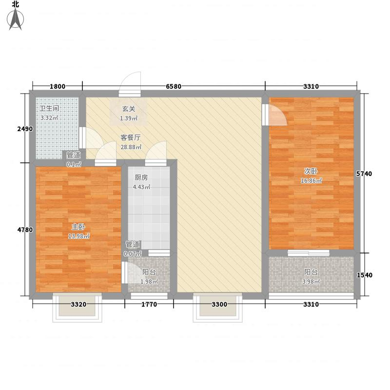 西古城悦澜湾111.40㎡B-11140户型2室2厅1卫1厨