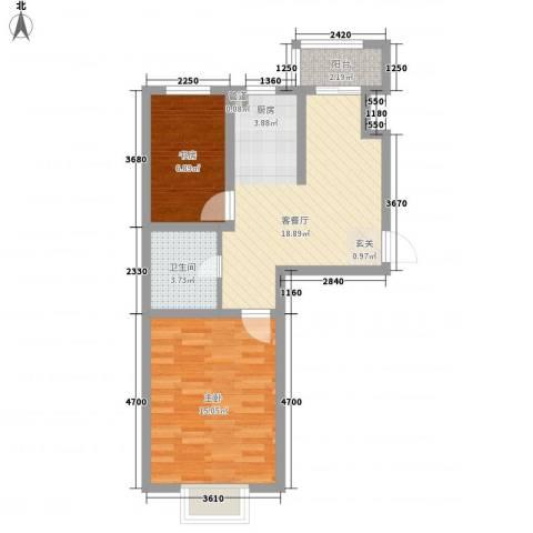 方方圆小区2室1厅1卫0厨66.00㎡户型图