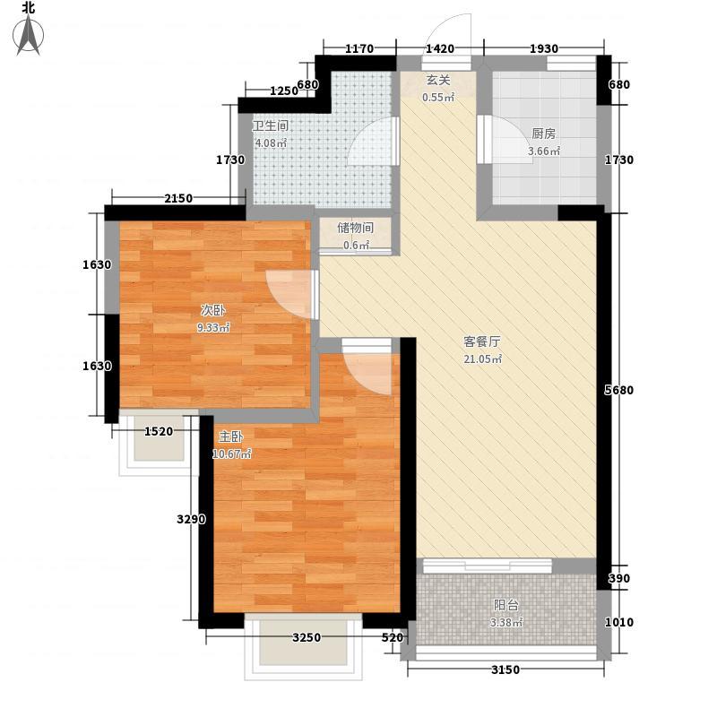 山河城77.15㎡C区7#户型2室2厅1卫1厨