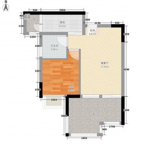 DADA的草地1室1厅1卫1厨44.76㎡户型图