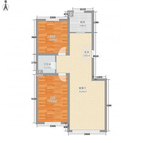 富工花园2室1厅1卫1厨93.00㎡户型图