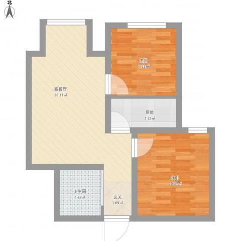阳光星苑2室1厅1卫1厨65.00㎡户型图