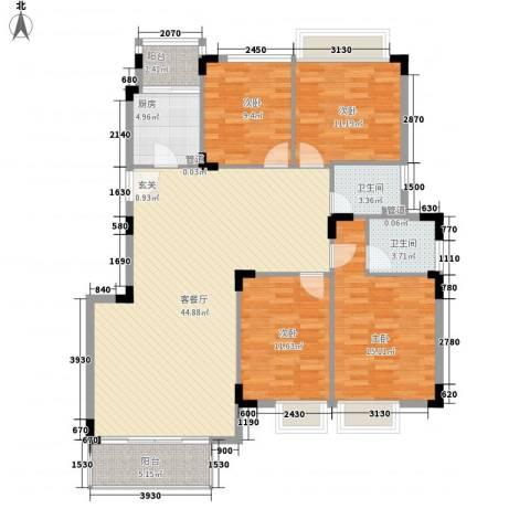 万科运河东1号银华院4室1厅2卫1厨155.00㎡户型图