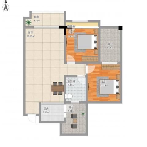 兴发金域丽江2室1厅1卫1厨110.00㎡户型图