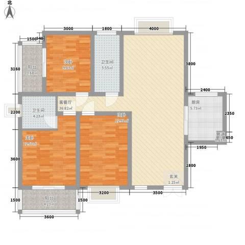 海景花园3室1厅2卫1厨138.00㎡户型图