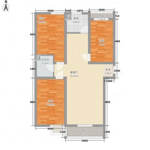 海景花园3室1厅1卫1厨112.00㎡户型图