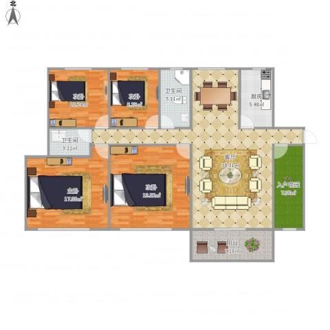 翠岭华庭7110064室1厅2卫1厨165.00㎡户型图