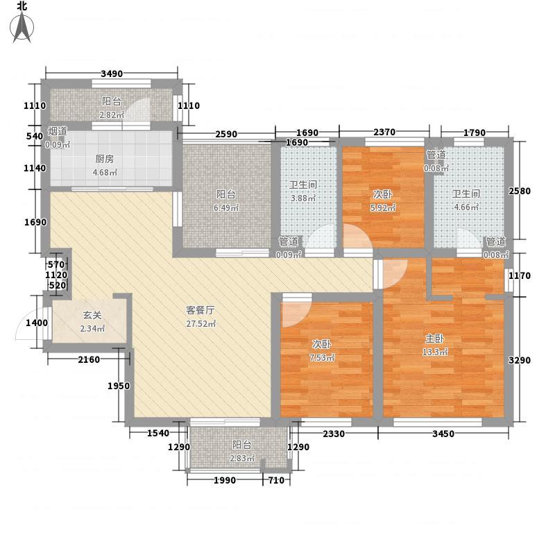 海尚壹品118.00㎡海尚壹品户型图52#标准层F1户型3室2厅2卫1厨户型3室2厅2卫1厨