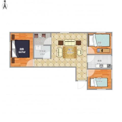 绿景香颂花园7157383室1厅1卫1厨75.00㎡户型图