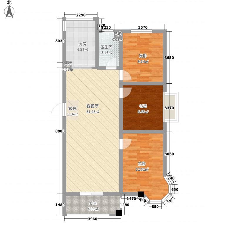 香榭丽舍111.00㎡D户型3室2厅2卫1厨