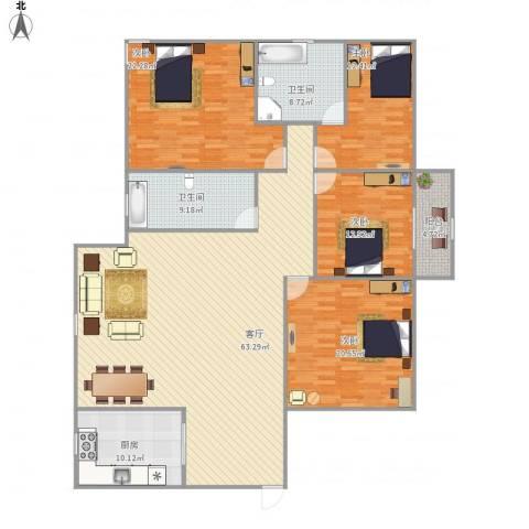 中兴花园4室1厅2卫1厨218.00㎡户型图