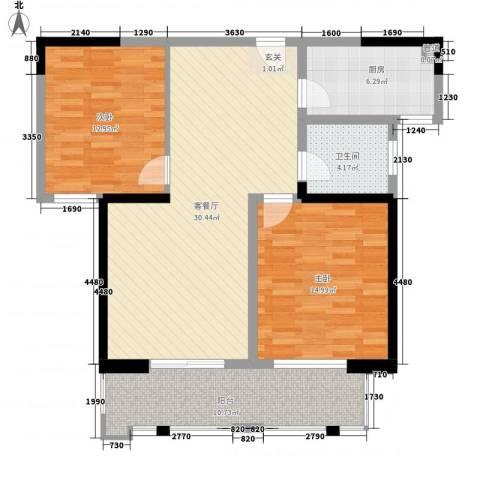 盛岸花园三期2室1厅1卫1厨90.40㎡户型图