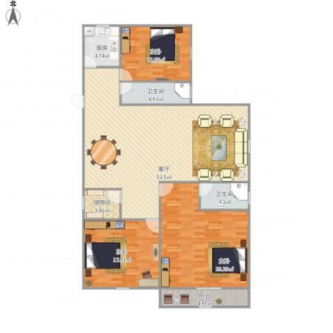 怡和苑3室1厅2卫1厨174.00㎡户型图