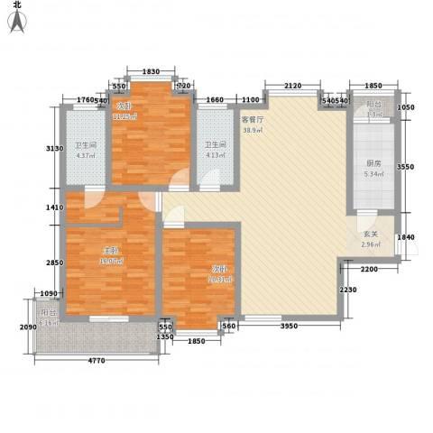 东苑�3室1厅2卫1厨141.00㎡户型图