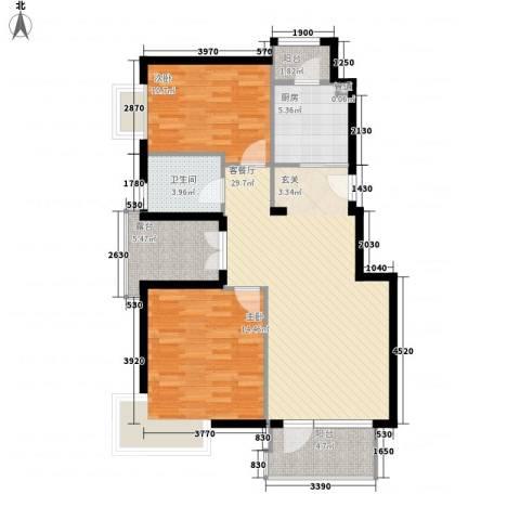 金色漫香林别墅2室1厅1卫1厨107.00㎡户型图