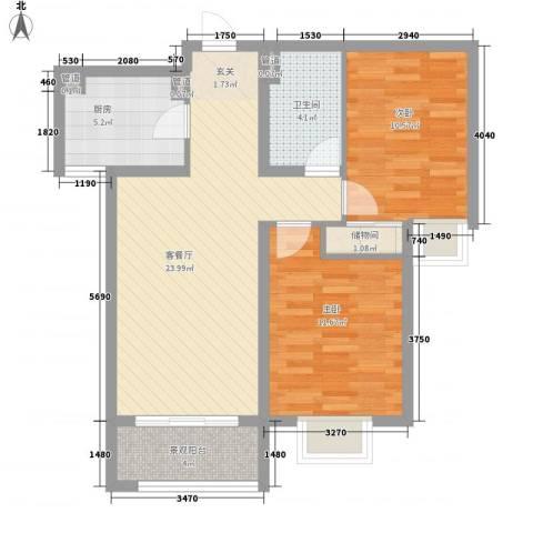 盛岸花园三期2室1厅1卫1厨70.40㎡户型图