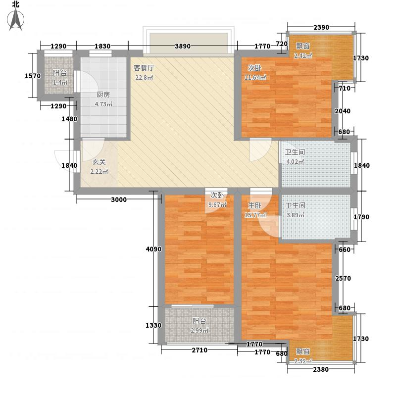 园林宿舍20户型3室2厅2卫1厨