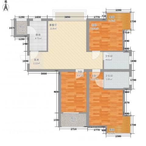 园林宿舍3室1厅2卫1厨109.00㎡户型图