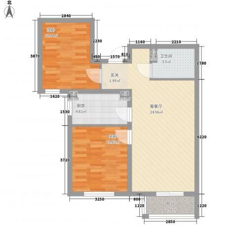 东苑�2室1厅1卫1厨81.00㎡户型图