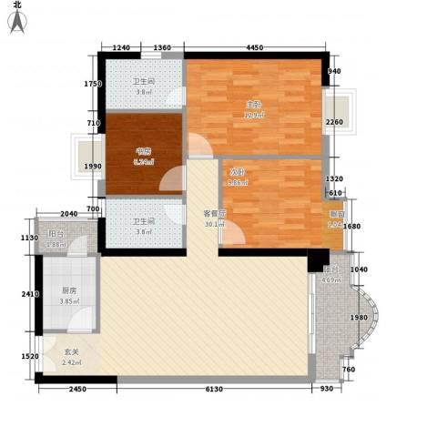 城市杰座3室1厅2卫1厨109.00㎡户型图