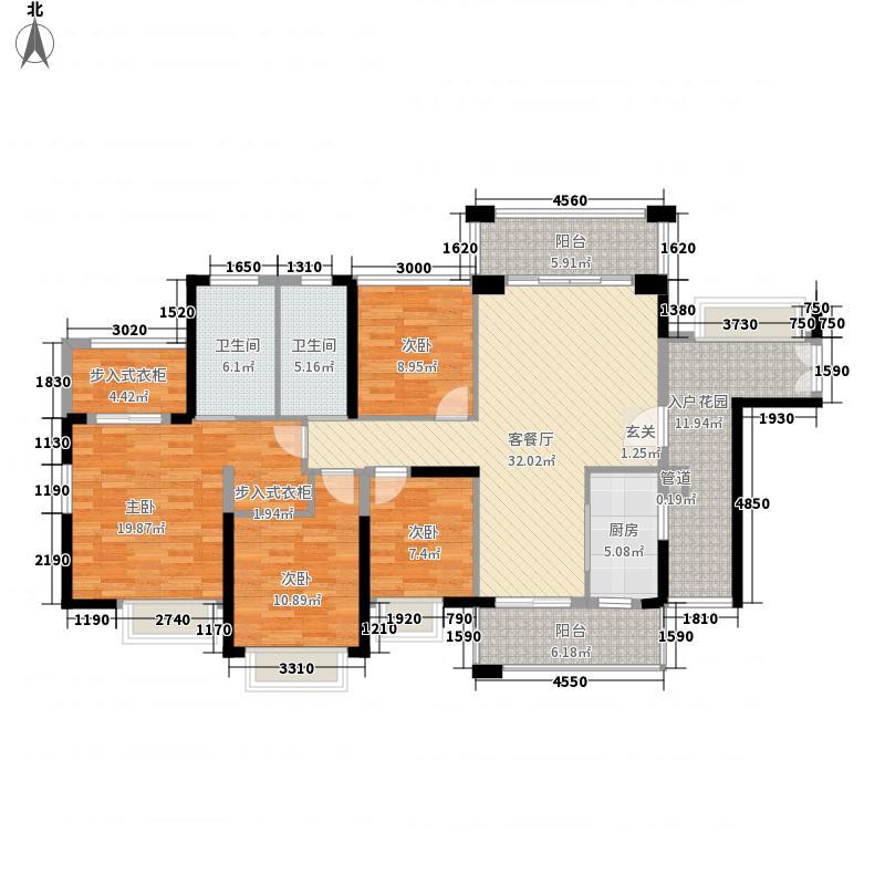 天利中央花园(南城)6栋标准层F户型4室2厅2卫1厨