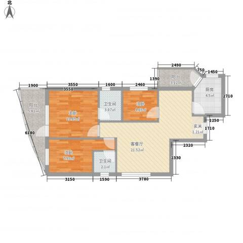 第一国际二期3室1厅2卫1厨106.00㎡户型图