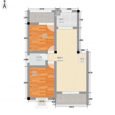 华悦楼2室1厅1卫1厨66.00㎡户型图
