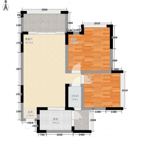 汉商银座2室1厅1卫1厨92.00㎡户型图