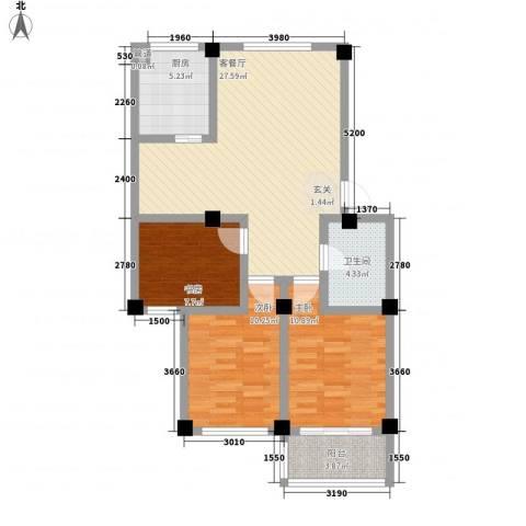颐青园3室1厅1卫1厨88.00㎡户型图