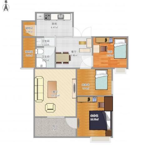 寰宇世家1室2厅2卫1厨96.00㎡户型图