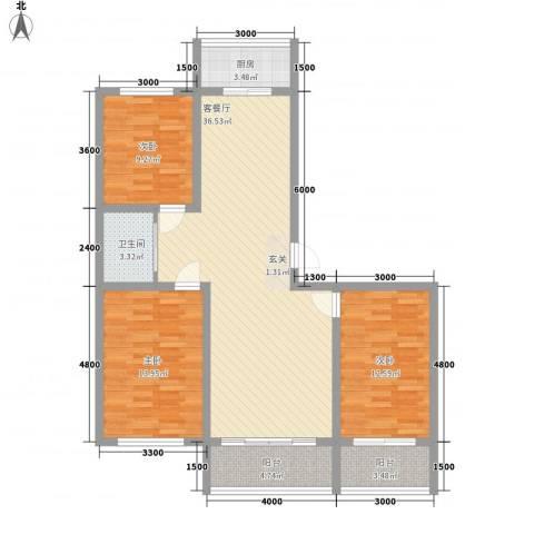 佳兴幸福家3室1厅1卫1厨87.36㎡户型图