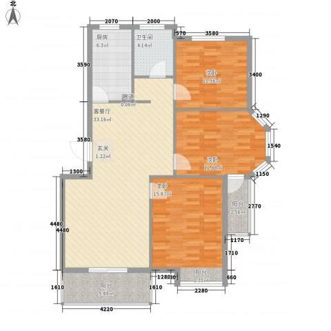 艾森颐景园3室1厅1卫1厨127.00㎡户型图
