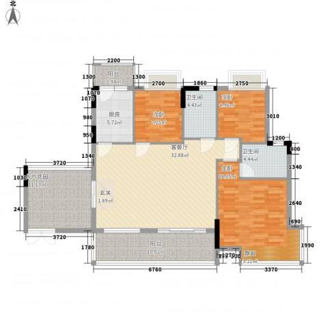 东城畔山3室1厅2卫1厨102.41㎡户型图