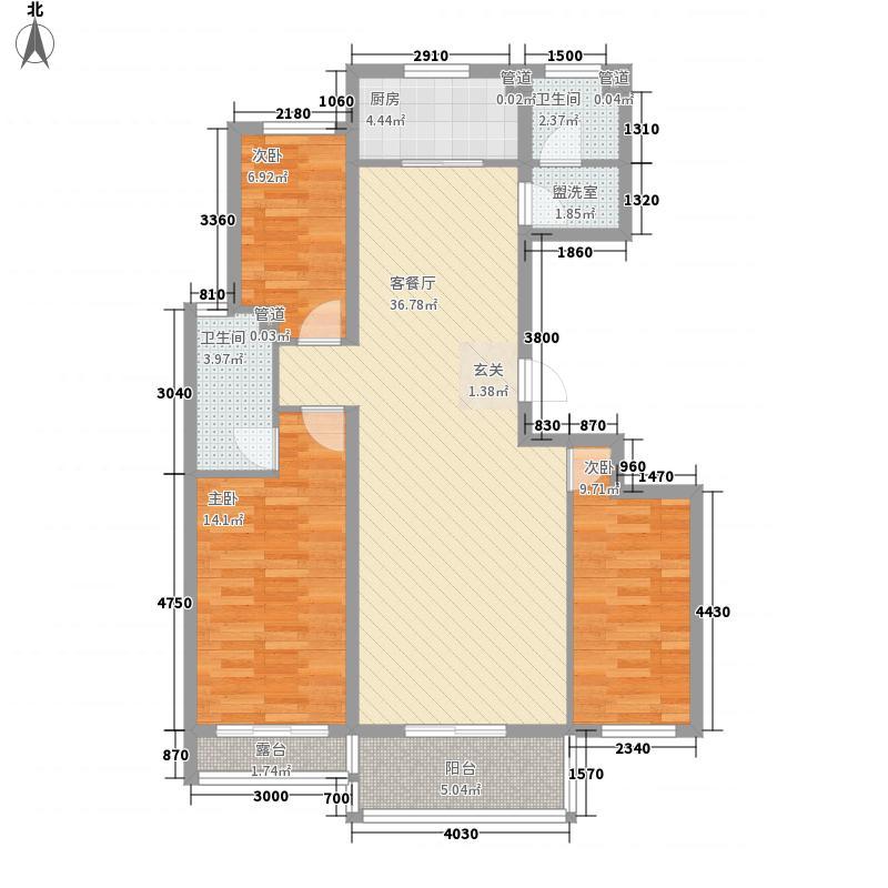 艾森颐景园125.00㎡一期住宅标准层D户型3室2厅2卫1厨