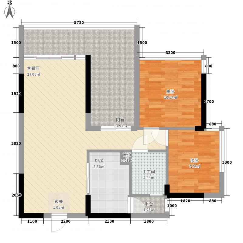 双城国际64.00㎡北区3栋04、4栋03户型2室2厅1卫