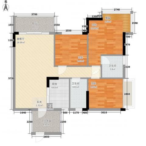 东城畔山3室1厅2卫1厨78.22㎡户型图