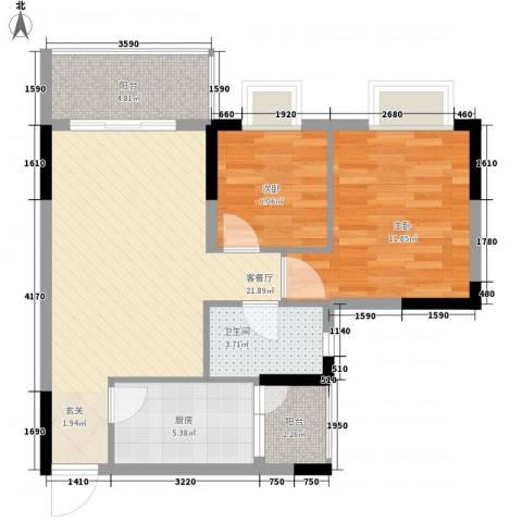 西街苑2室1厅1卫1厨80.00㎡户型图
