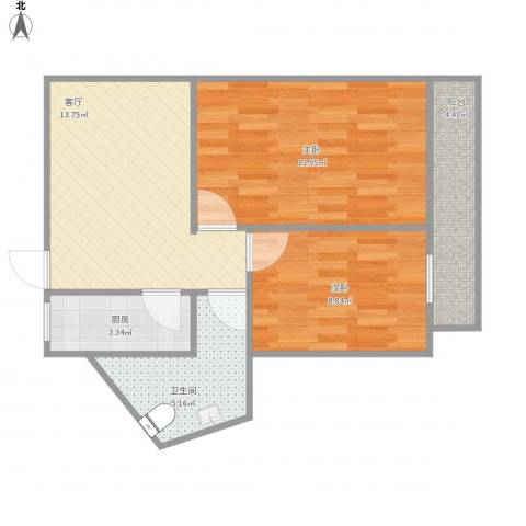 望花路西里2室1厅1卫1厨68.00㎡户型图