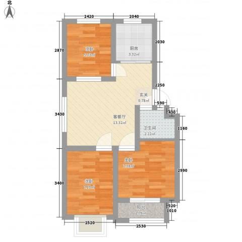 东航宿舍3室1厅1卫1厨81.00㎡户型图