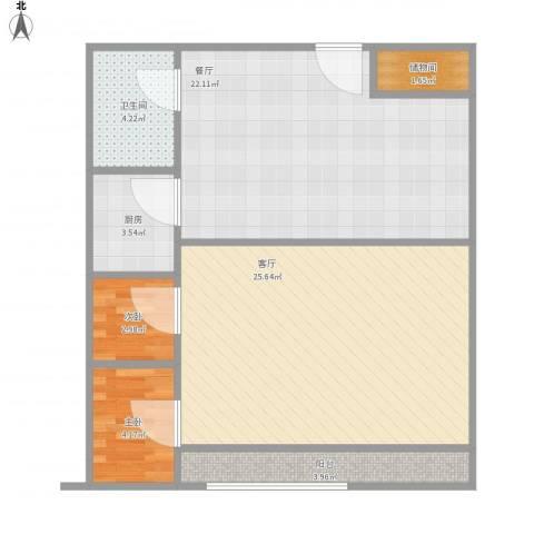 君悦华府2室2厅1卫1厨94.00㎡户型图