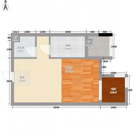 汉商银座1室1厅1卫1厨55.00㎡户型图