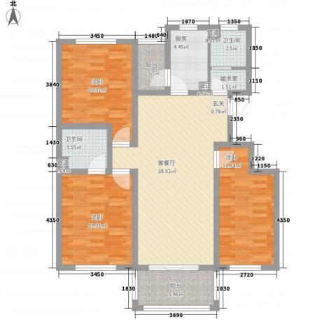 假日丽景3室2厅2卫1厨126.00㎡户型图