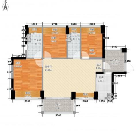 尚书悦府3室1厅2卫1厨76.28㎡户型图