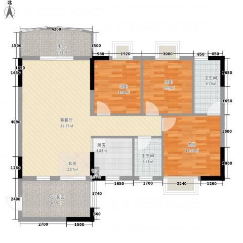 圣堤亚纳3室1厅2卫1厨113.00㎡户型图