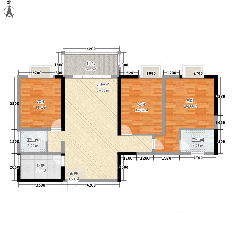 花果园128.10㎡溪山居F26户型3室2厅2卫1厨