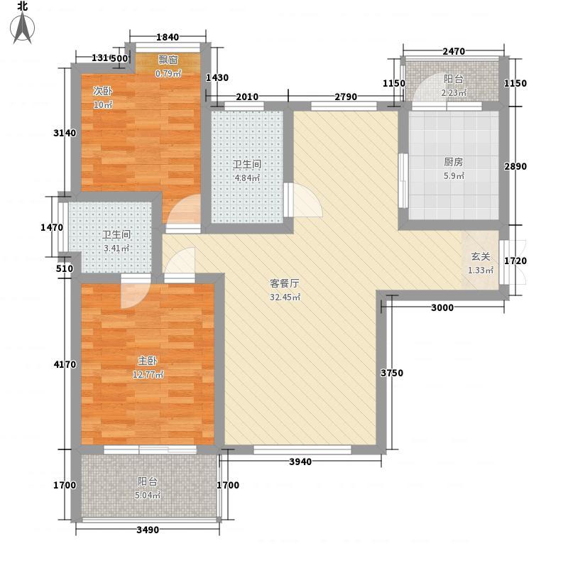 丽景花苑111.55㎡户型2室2厅1卫1厨