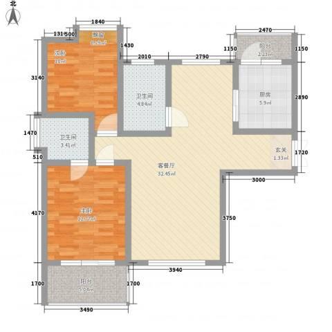 丽景花苑2室1厅2卫1厨112.00㎡户型图